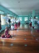 Monastics and laypeople meditate together